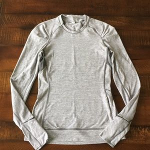 Lululemon Grey Striped Long Sleeved Top.